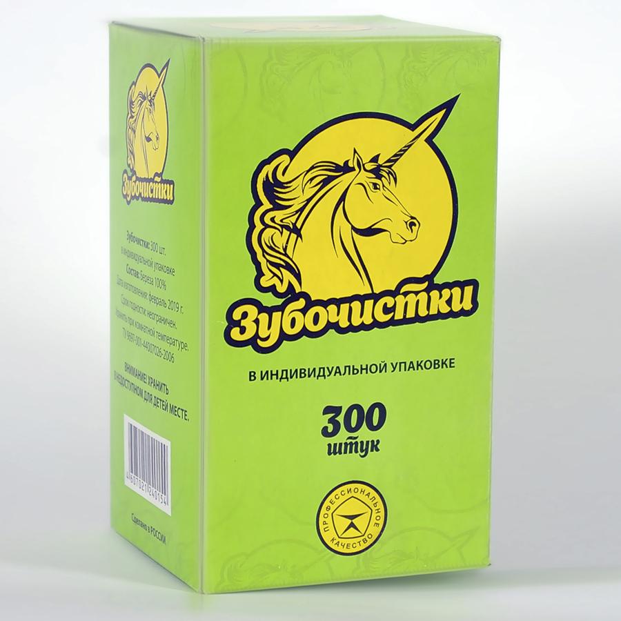Зубочистки в индивидуальной упаковке в коробке по 300 шт. (от 20 мест) в бумаге